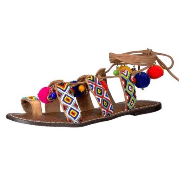 d532215c5 Sam Edelman 10 Lisabeth Brown beaded laceup sandal